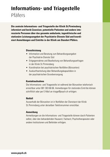 KSP Informations und Triagestelle - Psychiatrie-Dienste Süd