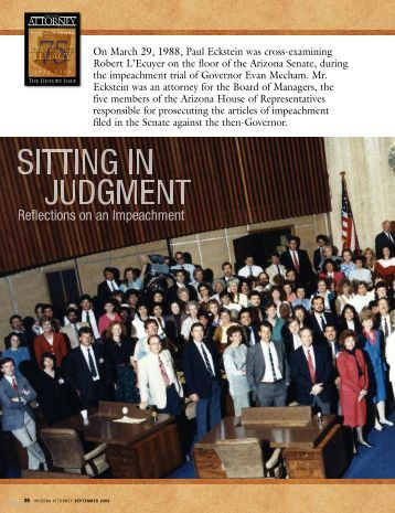 Sitting in Judgment: Reflections on an Impeachment - Lawyers