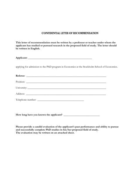 Confidential Letter Of Recommendation This Letter Of