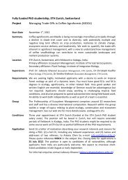 Fully funded PhD studentship, ETH Zurich, Switzerland Project ...