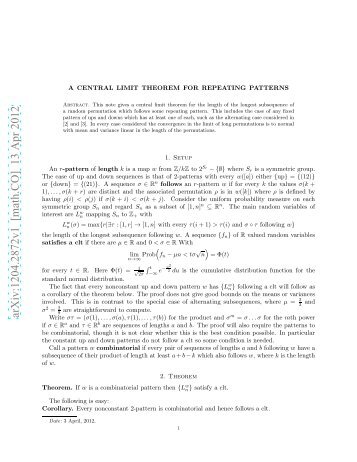 A Central Limit Theorem for Repeating Patterns