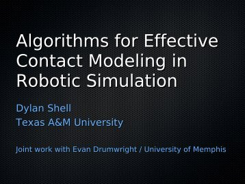 Algorithms for Effective Contact Modeling in Robotic Simulation