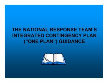 "(""one plan"") guidance - U.S. National Response Team (NRT)"