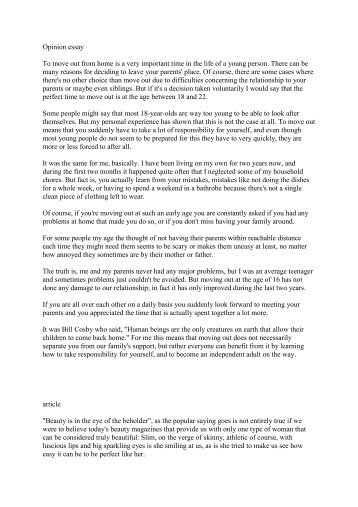 opinion essay moving out from home grg laaer berg opinion essay to move out from home is a very important time in the