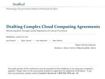 Drafting Complex Cloud Computing Agreements - Strafford