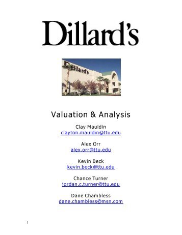Valuation & Analysis - Mark Moore