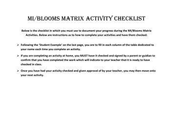 MI/bLOOMS MATRIX ACTIVITY CHECKLIST - misslosurdo7 - home