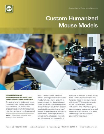 Download the Custom Humanized Mouse Models brochure - Taconic