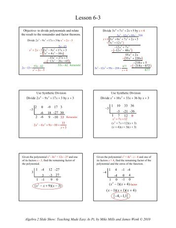 Math 080 Polynomials and Polynomial Functions Worksheet Divide ...