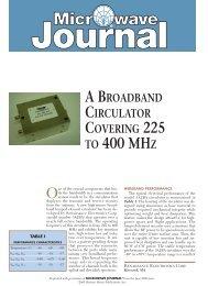 A Broadband Circulator Covering 225 to 400MHz - Renaissance ...