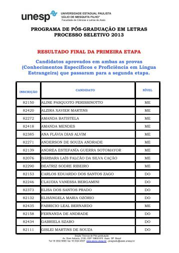 resultado final - aprovados na primeira etapa - UNESP-Assis