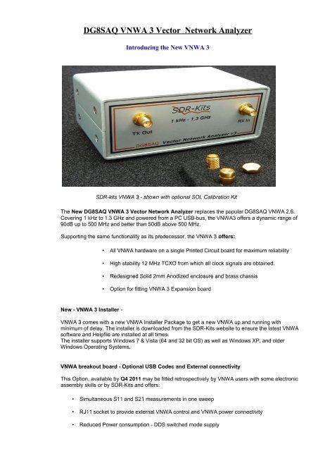 DG8SAQ VNWA 3 Vector Network Analyzer - SDR-Kits