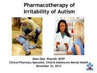 Pharmacotherapy of Irritability of Autism - UBC Interprofessional ...