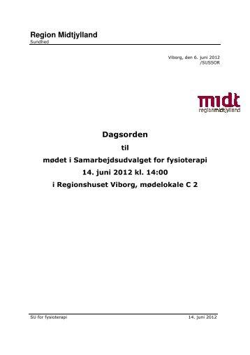 Dagsorden til møde i Samarbejdsudvalget for fysioterapi 14-06-2012