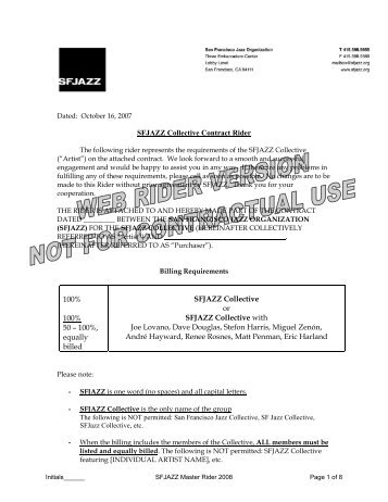 SFJAZZ Collective Contract Rider 100% 100% 50 – 100%, equally ...