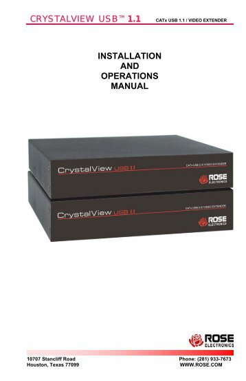 CRYSTALVIEW USB 1.1™ INSTALLATION AND ... - Rose Electronics