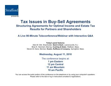 Tax Issues in Buy-Sell Agreements Structuring ... - Strafford