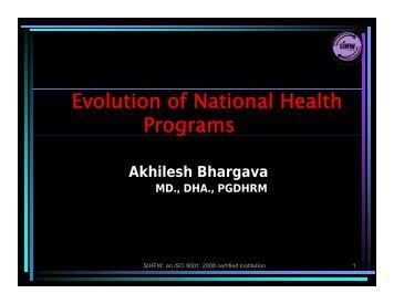 Evolution of National Health Program - SIHFW Rajasthan