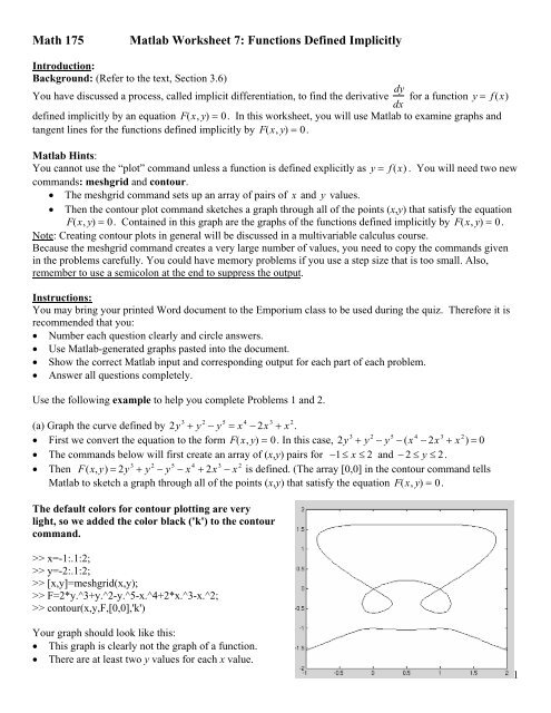 Math 175 Matlab Worksheet 7: Functions Defined Implicitly