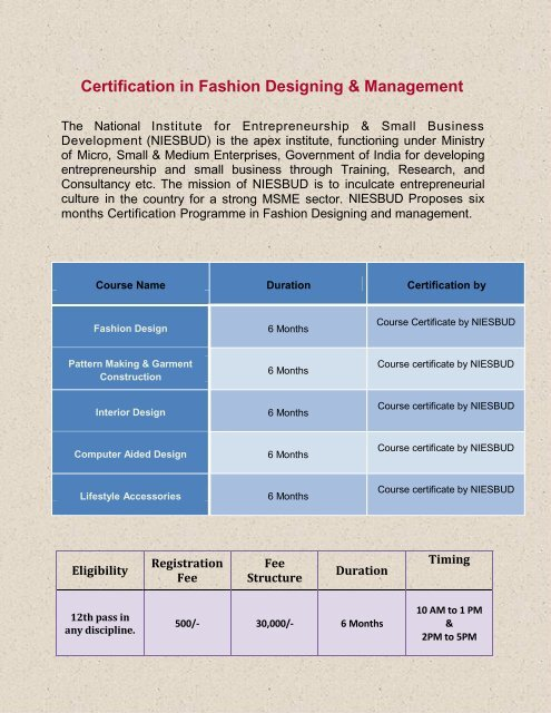 Certification In Fashion Designing Management Niesbud