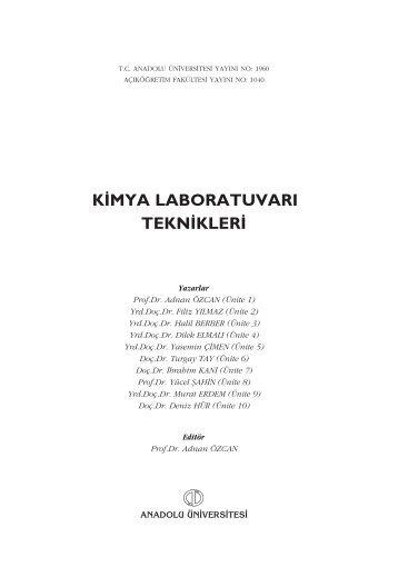 k‹mya laboratuvarı tekn‹kler‹ - Anadolu Üniversitesi