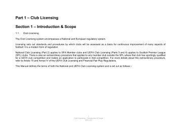 Part 1 – Club Licensing Section 1 – Introduction & Scope - Scottish ...