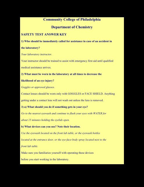 Safety Test Questions Answer Key Community College Of