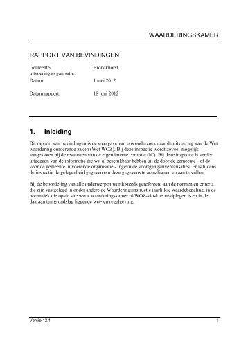 managementsamenvatting inspectie 1-5-2012 - Waarderingskamer
