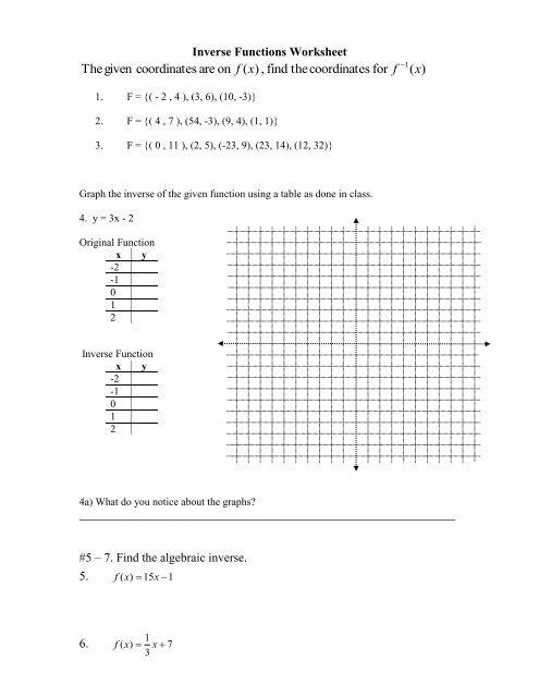 Inverse Functions Worksheet .pdf