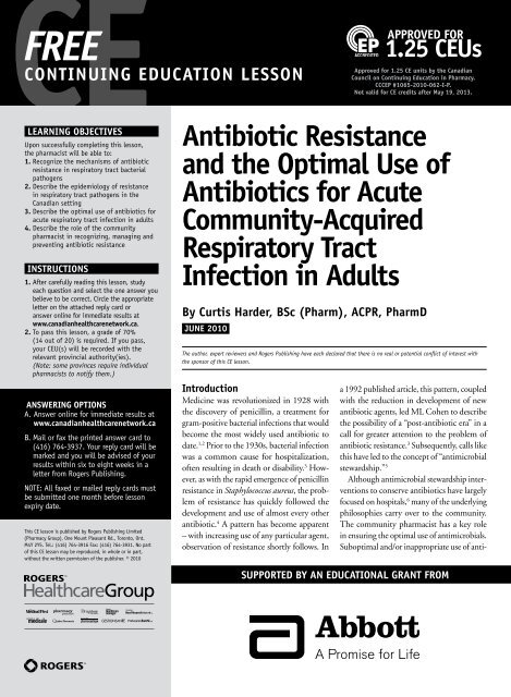 Antibiotic Resistance and the Optimal Use of Antibiotics for Acute ...