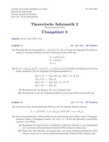 Übungsblatt 9 - Theorie komplexer Systeme - Goethe-Universität
