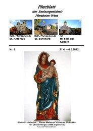 Pfarrblatt Nr. 6 -2012 - bei der Seelsorgeeinheit Pforzheim West