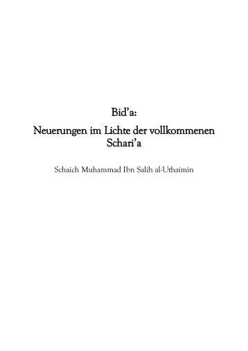 Neuerungen im Lichte der vollkommenen Scharia - Salaf.de