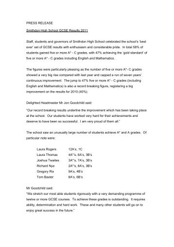 PRESS RELEASE Smithdon High School GCSE Results 2011 Staff ...