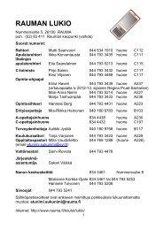 Henkilökunnan yhteystiedot - Rauma