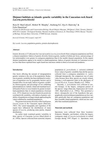 Disjunct habitats as islands: genetic variability in ... - IngentaConnect