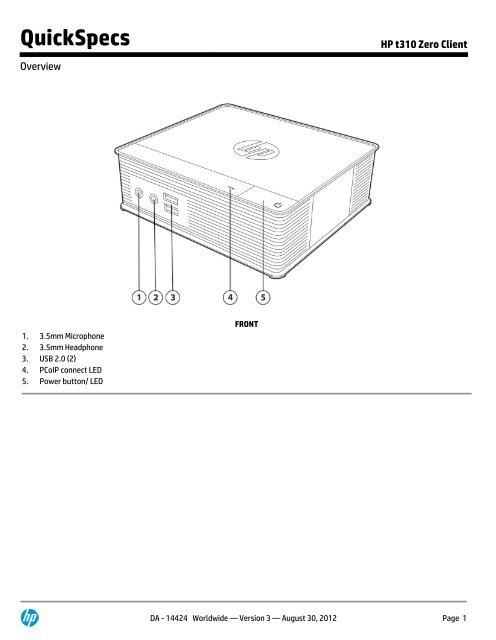 HP t310 Zero Client - Added Dimension