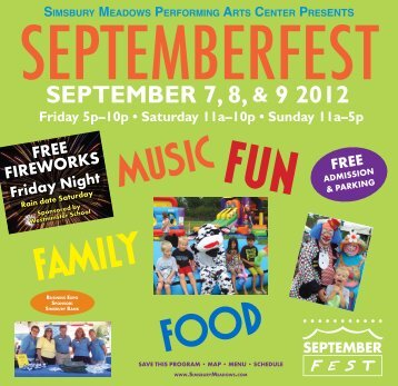 SEPTEMBER 7, 8, & 9 2012 - Simsbury Recreation Department