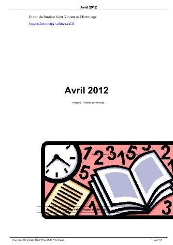 Avril 2012 - Paroisse Saint Vincent de l'Hermitage