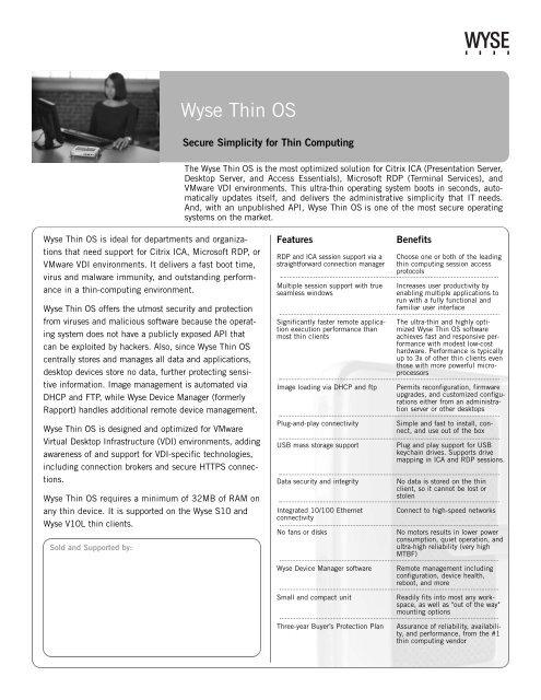Wyse Thin OS - Arrow ECS