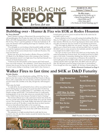 3/19 - Barrel Racing Report