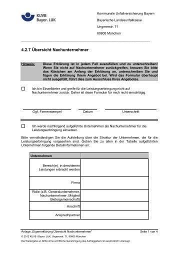 4.2.7 Übersicht Nachunternehmer - Kommunale Unfallversicherung ...