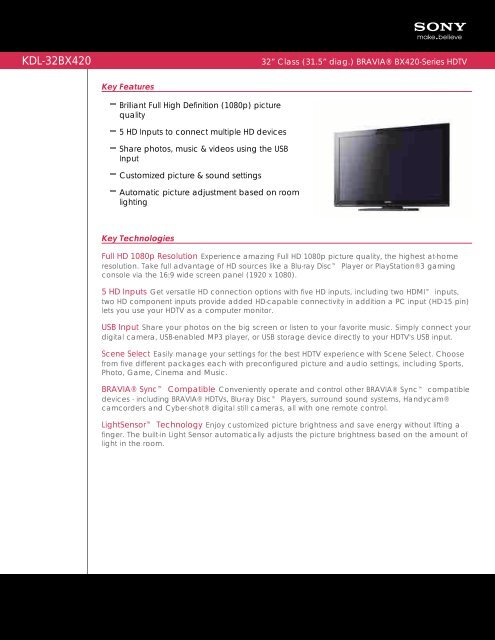 KDL-32BX420 - Quality TV Sales and Service