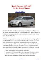 2005-2009 Honda Odyssey Service Repair Manual - Carfsm