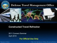 Connect 2011 Seminar - Constructed Travel Refresher - DTMO