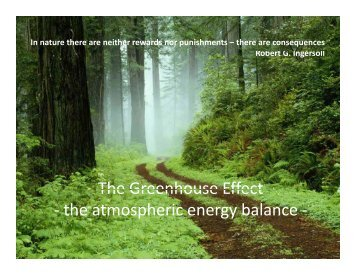 Greenhouse Effect and Atmospheric Chemistry
