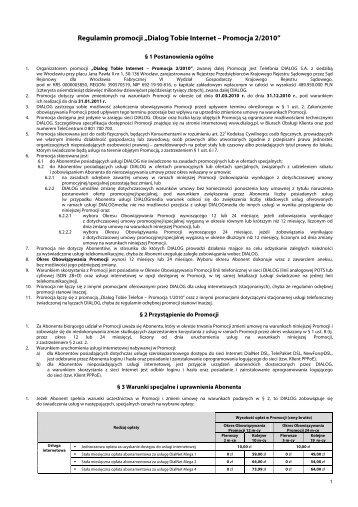 """Regulamin promocji """"Dialog Tobie Internet – Promocja 2/2010"""""""