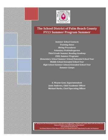 The School District of Palm Beach County FY13 Summer Program ...