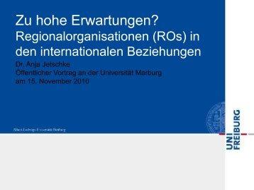 Zu hohe Erwartungen? Regionalorganisationen (ROs) in den ...