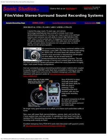 Portable Video & Film/Video Stereo/Surround ... - Sonic Studios